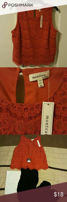 NWT Lace Rust Orange Top Beautiful Lace Rust Orange top  Its sleeveless and lined With a scoop neckline  button closure and a eyelet peep hole in the back Tops