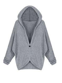 Stylish Batwing Sleeve Solid Sweater Cardigan