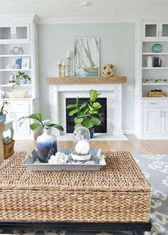Escape to the sea with this summer blues coastal family room tour! Get easy coastal decorating ideas to transform your home into a chic coastal retreat. Complete with product source links!
