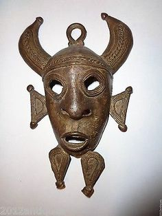 Mask African Tribal Heavy Metal Ethnic Demon Horns Wall Hanging vtg SCULPTURE
