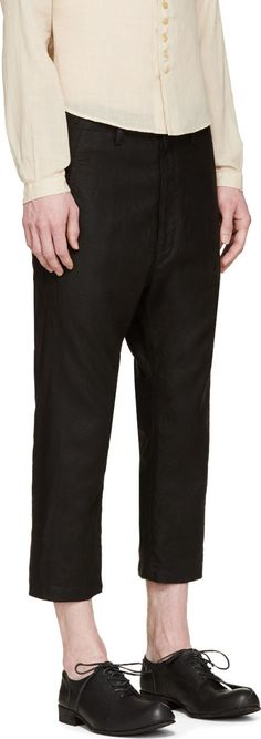 Nude:mm Black Linen High-Waisted Trousers