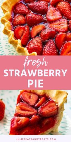 Fresh Strawberry Pie made with Jell-O. You can use a homemade crust, pre-made, graham cracker oreo crust for this easy pie. A filling of fresh strawberries and jello mixture make it a quick and easy summer dessert to use up your fresh strawberries! Strawberry Jello Pie, Fresh Strawberry Recipes, Strawberry Desserts, Recipes With Fresh Strawberries, Easy Summer Desserts, Party Desserts, Easy Pie, Simple Pie, Oreo Crust