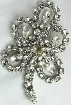 vintage rhinestone floral brooch.  I have this exact broach from my Grandmother.