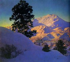 "https://www.facebook.com/MiaFeigelson ""Winter sunrise"" (1949) By Maxfield Parrish, from Philadelphia, Pennsylvania (1870 - 1966) (also known as F. Maxfield Parrish, Maxfield Frederick Parrish) - oil on canvas; 38.1 x 33.02 cm; 15 x 13 in - Private Collection"