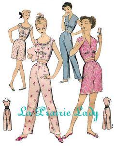 Repro Vintage Pattern Pajama or Playsuit 50s No 2 on Printable PDF B34