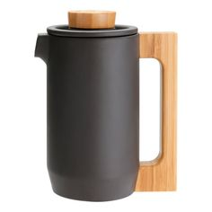 Purple Clay Coffee Press by JIA. Unfired natural clay with Bamboo Handle. French Press Coffee Maker, Blended Coffee, Kitchen Gadgets, Tea Pots, Bowser, Clay, Tableware, Kitchenware, Product Design