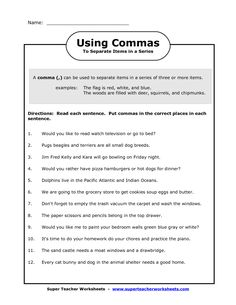 grammar worksheets commas in a series first grade free | Comma ...