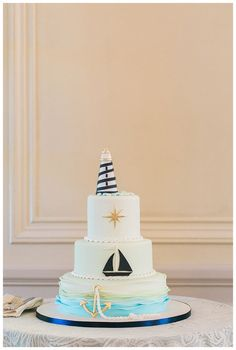 A cake fit for the navy in this nautical themed wedding at Glen Manor House | Photography: Mirelle Carmichael  http://blisscelebrationsguide.com
