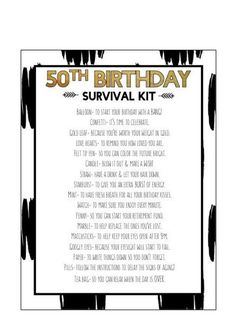 50th Birthday Survival Kit Digital Print This Is A Product And Will Be Available After