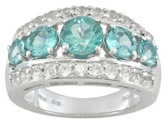 Neon Apatite 2.50ctw Round With White Topaz 1.10ctw Round Sterling Silver 5-stone Style Ring