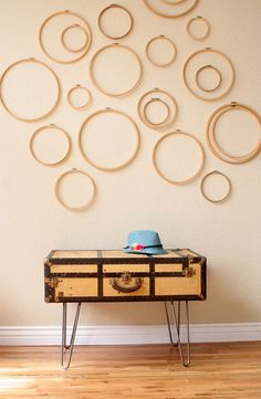 3 Uses for vintage suitcases in home decor...or the lovely circles that are used for sewing?
