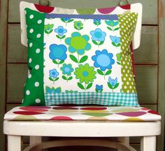 Fresh Blue Green and White Patchwork Pillow Cushion Cover Patchwork Mod Floral - Etsy