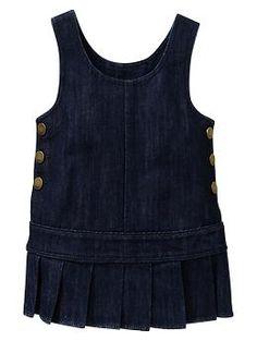 Pleated denim jumper dress | Gap