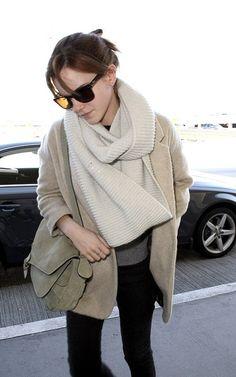 Emma Watson-I like that chunky scarf.