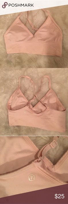 Lululemon Ebb to Street Bra 2 I believe the style is Ebb to Street. Seamless style, cross back sports bra in a blush pink color. There are pockets for pads but NO pads included. No size dot, is a size 2. lululemon athletica Tops