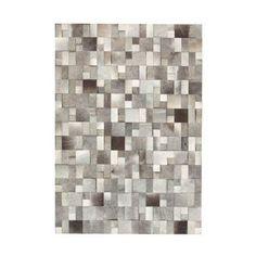 Leather Shades of Gray Patchwork Rug   dotandbo.com