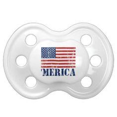 Distressed U.S. Flag 'MERICA Pacifiers
