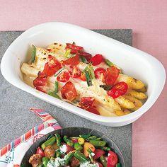 Spargel-Tomaten-Gratin mit Schinken Rezept   Küchengötter