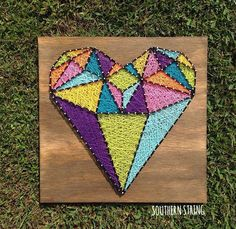 One of the most unique pieces I've done. Diamond heart string art.