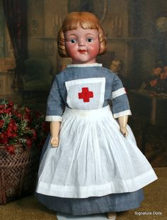 18 Molded Hair English Bisque Character Doll ~ Uncommonly Found from signaturedolls on Ruby Lane