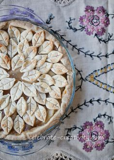 Apple Pie topped with Leaf Shaped Pie Cutouts