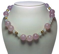 Long Rose Quartz Bead Necklace