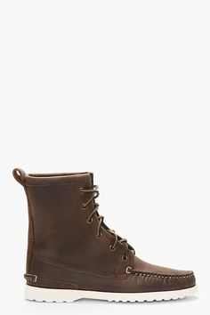 77d3da9377 QUODDY Brown Leather Grizzly Moccasin Boots Moccasin Boots