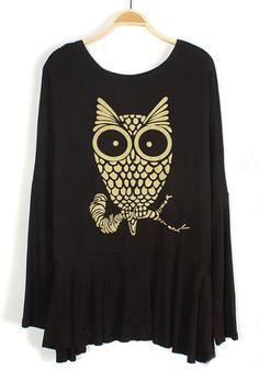 Black Owl Print Falbala Long Sleeve Modal Pullover