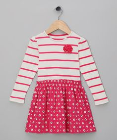 Take a look at this Cherry Flower Stripe Organic Dress - Toddler & Girls by Kite Kids on #zulily today!