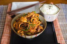 Korean Squid: --1lb. squid rings --1c. wild mushrooms --1 chili pepper --onion+garlic --oil, soy sauce, oyster sauce, rice wine, honey --sesame, red pepper, ginger, lemon zest