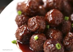 BBQ Meatballs... easy to make in the crock pot, this recipe only takes 3 ingredients and 5 minutes to prep! Doesn't get better than that.