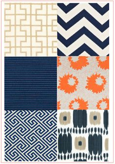 More dark blue and orange.  love these for the bath & bedroom to have them flow together..