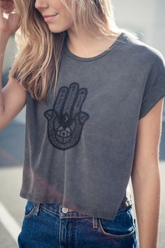 Brandy ♥ Melville   Caleigh Hamsa Hand Embroidery Top - Graphics