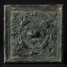 A SQUARE MIRROR - CHINA TANG DYNASTY - BRONZE, 15x15 cm