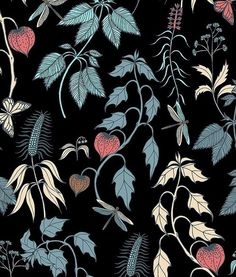 Midnight #flowers #vector #pattern for #patternbank » https://patternbank.com/mariia #fashion #fabric #textile #insects #beauty #forest #nature #womenswear IG: @mariia_alexxandrova