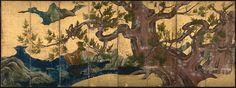 Art from Japan pre-1868  Cypress Tree Byōbu, folding screen by Kano Eitoku, 1590