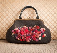 Retro felted grey bag with flowers OOAK by aureliaLT on Etsy,