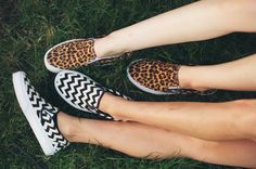 Chevron and leopard are two of our favorite prints. Now available in the Vans classic slip-on.