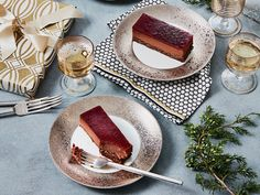 Black Forest Mousse Cake with Cherry-Chile-Pomegranate Glaze Recipe - Renee Bolstad Just Desserts, Delicious Desserts, Dessert Recipes, Party Desserts, Pomegranate Glaze Recipes, Easy Ham Glaze, Food & Wine Magazine, Homemade Sweets, Forest Cake