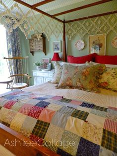 Ash Tree Cottage: Let's Talk Granny Chic. Now you may also have noticed that the style of our bedroom is very granny chic. Well, you are correct. With the exception of our bed which was handmade by some Amish folks in Pennsylvania, everything is vintage.