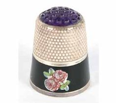 German Sterling Enamel Thimble with Amethyst