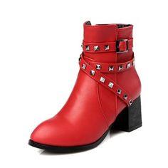 De mujer Botas Tacones Botas al tobillo Tacón ancho Cuero Zapatos