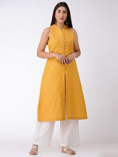 Buy Mustard Button down Matka Cotton Kurta with Front Slit Online at Jaypore.com