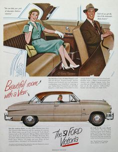 1951 Ford Victoria Ad Beautiful Room with a View 1950s