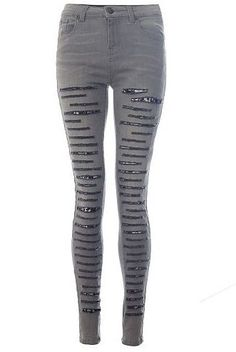 Womens grey denim ripped lace jeans from Quiz - £29.99 at ClothingByColour.com