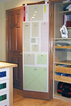 Storage for quilting rulers on back of door. Can easily do this on back of study cupboard door