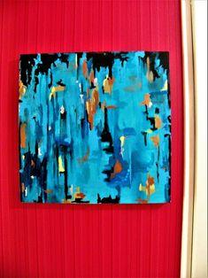 Peinture abstraite turquoise métallique,peinture bleue et cuivre,peinture carrée bleue Square Canvas, Support Local, Abstract Styles, Esty, Texture Painting, Local Artists, Art Market, Gifts For Family, Geometric Shapes