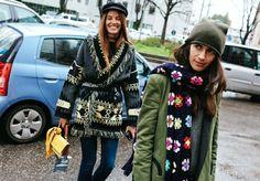 Carlotta Oddi and Chiara Totire in a Blazé Milano jacket. Milan Fall/Winter Fashion Week February 2016