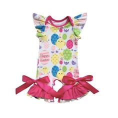 f9ee6cf95d6 Easter Romper. Easter BabyBodysuit FashionRuffle SleeveBaby GirlsEggColorful SpringBoysBaby ...
