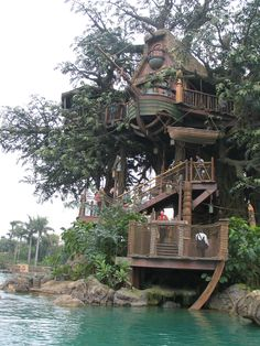 Tree Houses to Live in to Spend the Family Holiday: Tree Houses To Live In Wooden Boat Green Water River Stone ~ findhouses.org Wood House Designs Inspiration
